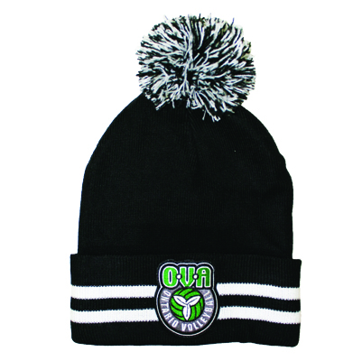 OVA Striped Cuff Pom Pom Toque