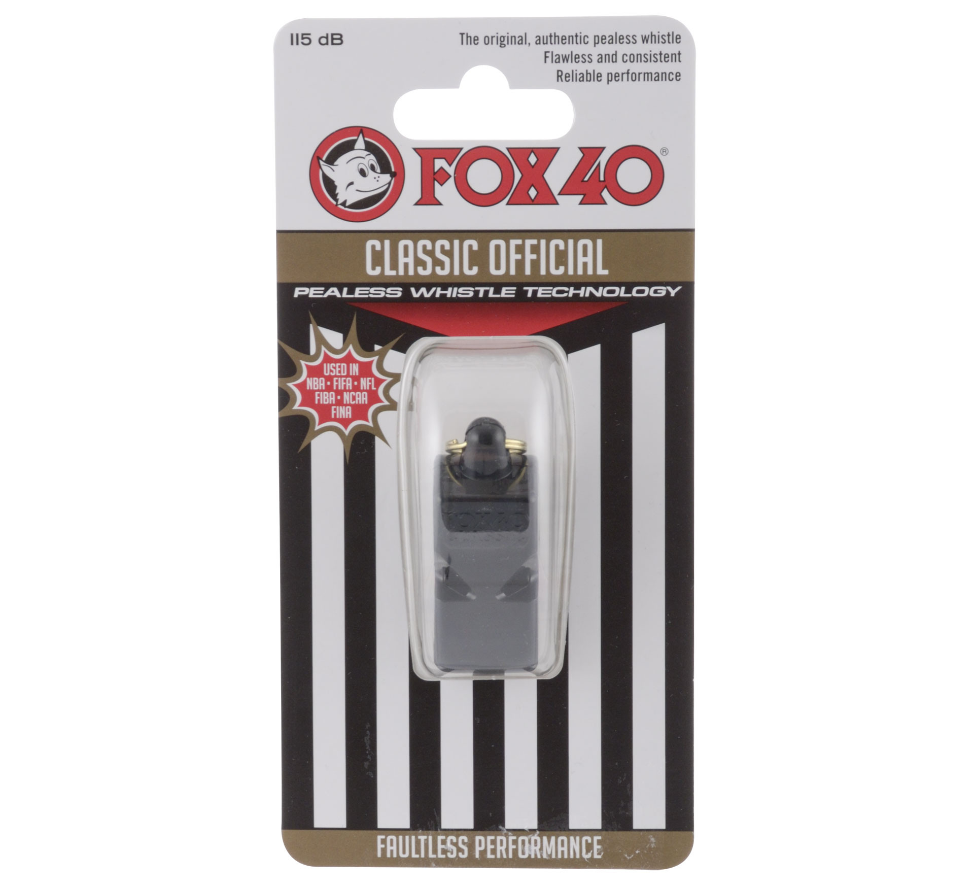 Fox 40 Official Pealess Whistle with Breakaway Lanyard